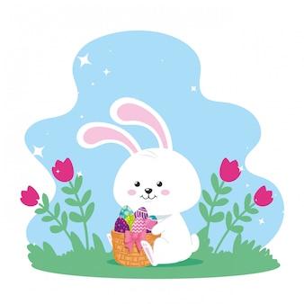 Conejo con huevos de pascua en cesta de mimbre y decoración, diseño de ilustraciones vectoriales