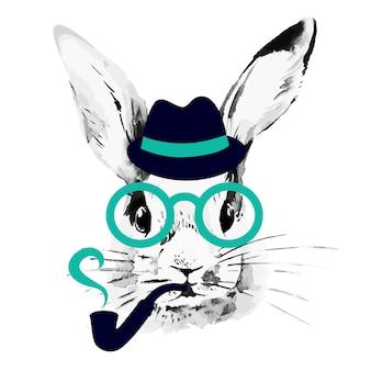 Conejo inconformista. retrato de boceto acuarela dibujada a mano