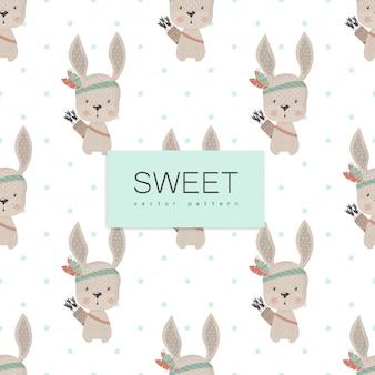 Conejo indio divertido, dibujado a mano