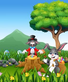 El conejo juega la magia en el tocón del árbol.
