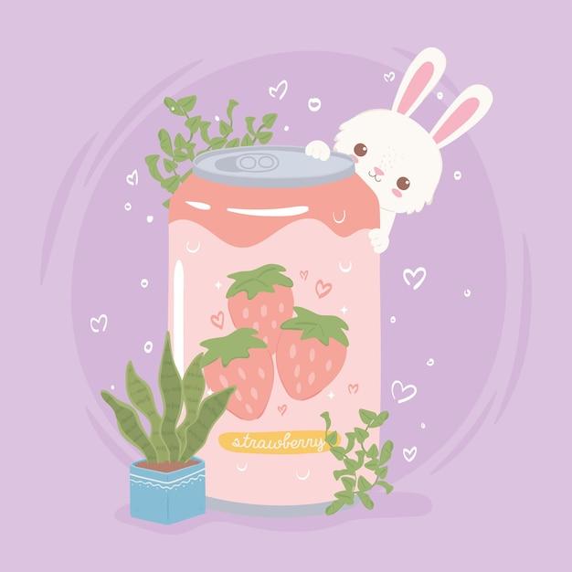 Conejo con lata de refresco