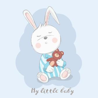 Conejo lindo bebé con estilo dibujado a mano de dibujos animados de oso de peluche