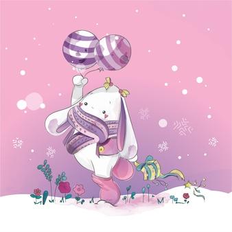 Conejo lindo con blue loon día de navidad doodle acuarela.
