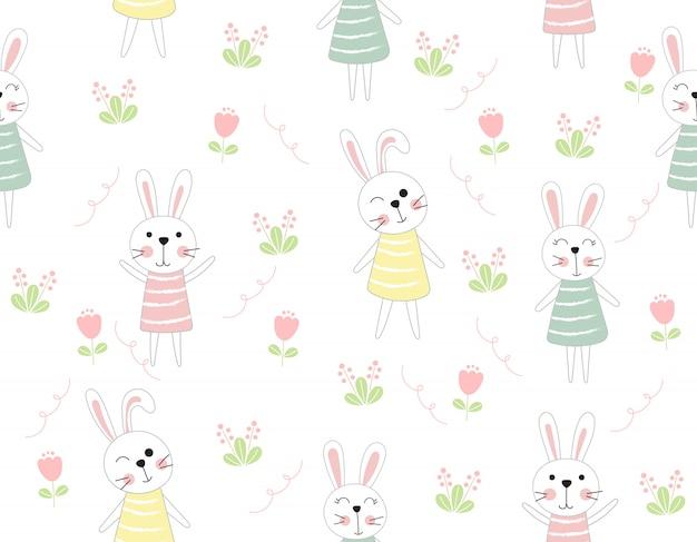 Conejo lindo de dibujos animados animal de patrones sin fisuras