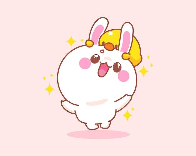 Conejo lindo feliz con pato saltando divirtiéndose ilustración de dibujos animados