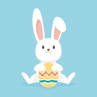 Conejo lindo con huevos de pascua