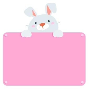 Conejo lindo mantenga vector de tablero en blanco
