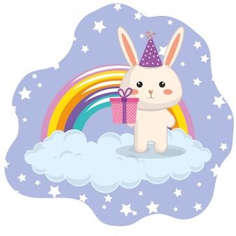 Conejo lindo con tarjeta de cumpleaños del arco iris kawaii