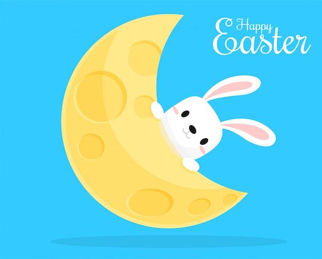 Conejo en la luna en el día de pascua
