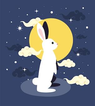 Conejo a mediados de la noche de otoño