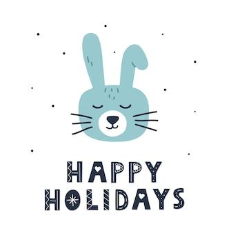 Conejo de navidad dibujado a mano con letras