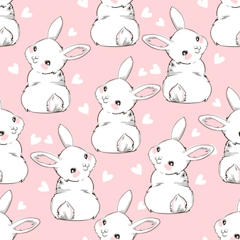 Conejo de patrones sin fisuras conejito y corazón dibujados a mano, diseño de impresión de fondo de conejo. sin costura. diseño de impresión textil para moda infantil.