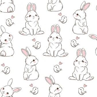 Conejo de patrones sin fisuras conejito dibujado a mano y un pajarito, diseño de impresión de fondo de conejo. sin costura. diseño de impresión textil para moda infantil.