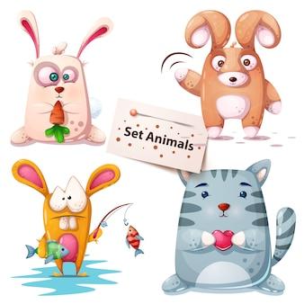 Conejo, pez, gato - set animales