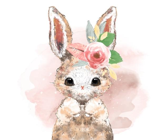 Conejo de piel esponjosa tropical acuarela pintada a mano en una rama con flores tropicales, arte de pared de safari.
