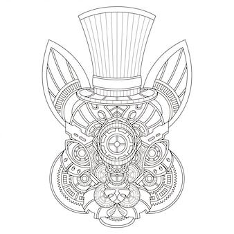 Conejo steampunk ilustración estilo lineal