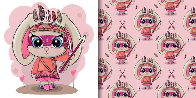 Conejo tribal de dibujos animados lindo con plumas, patrones sin fisuras
