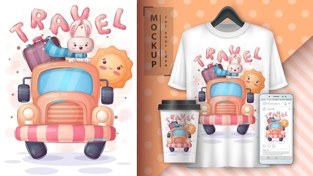 Conejo de viaje - cartel y merchandising