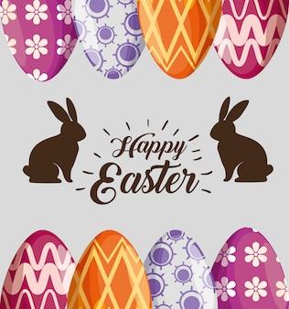 Conejos con decoración de huevos de pascua para evento