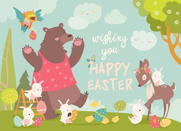 Conejos felices y pequeños ciervos celebrando la pascua.
