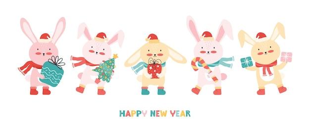 Conejos con gorro de papá noel con un árbol de navidad y regalos