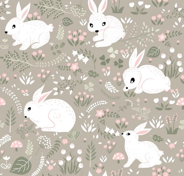 Conejos y patrón de bosque