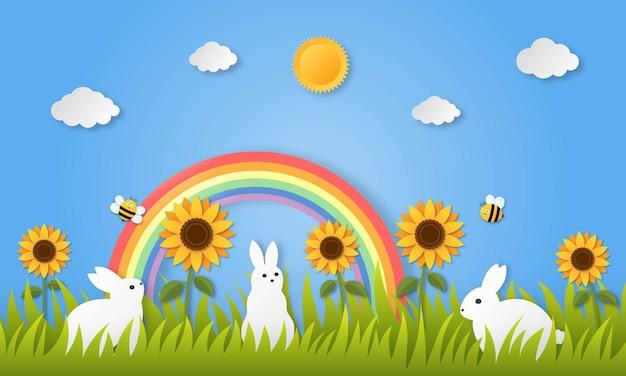 Conejos sobre hierba. estilo de arte de papel.