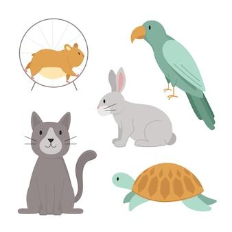 Conept de diferentes mascotas