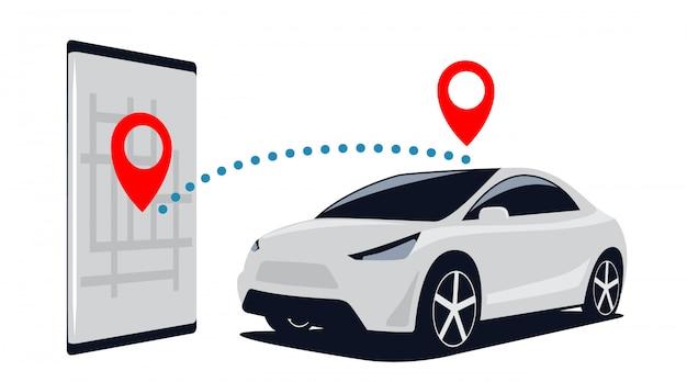 Conexión coche y teléfono inteligente. busque suv en el estacionamiento a través de la aplicación móvil en el teléfono. ilustración.