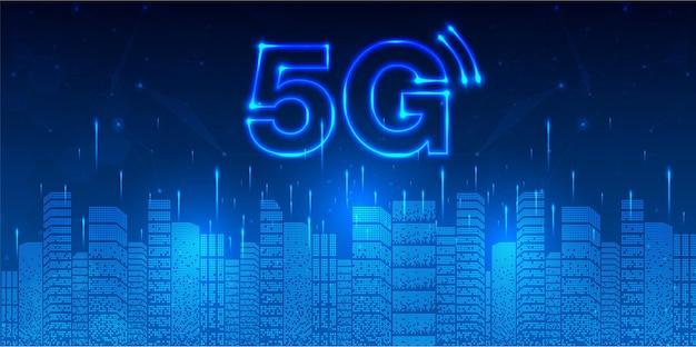 Conexión inalámbrica a internet inalámbrica de red 5g concepto de red de comunicación y ciudad inteligente