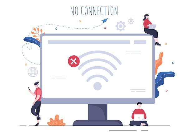 Conexión inalámbrica perdida o cable desconectado, internet sin señal wifi, página no encontrada en la pantalla del teléfono inteligente. ilustración de vector de fondo