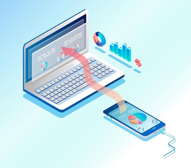 Conexión de infografía de teléfono y computadora portátil. ilustración isométrica.