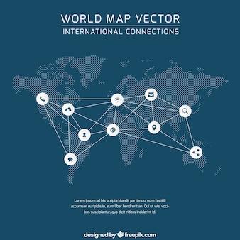 Conexión mapa del mundo
