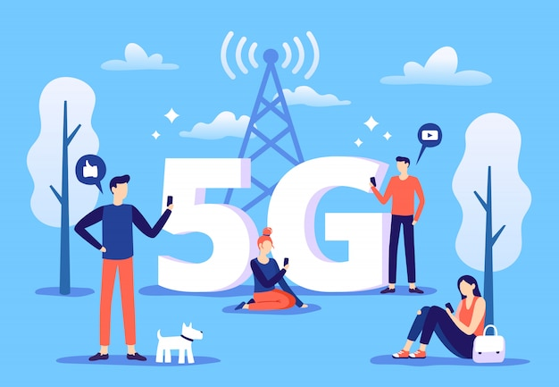 Conexión móvil 5g. las personas con teléfonos inteligentes usan internet de alta velocidad, red de quinta generación e ilustración de zona de cobertura