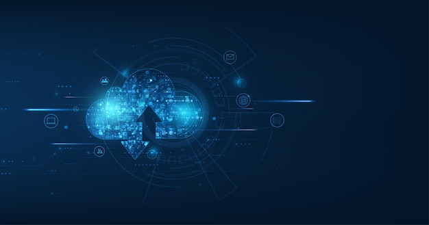 Conexión de nube abstracta sobre fondo de tecnología