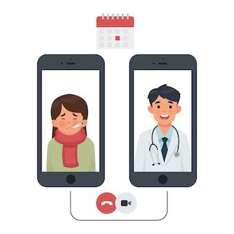 Conexión entre paciente y médico por teléfono.