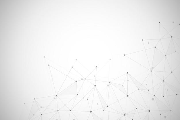 Conexión de red abstracta de puntos y líneas de fondo