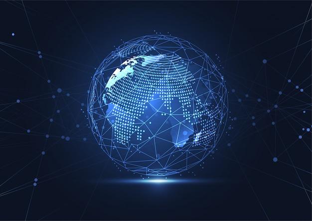 Conexión de red global. composición de puntos y líneas del mapa mundial