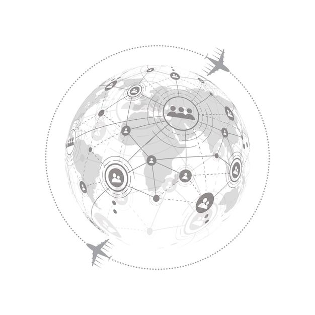 Conexión de red global con el concepto de avión de negocios