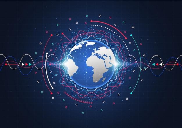 Conexión de red global. concepto de composición de punto y línea de mapa mundial
