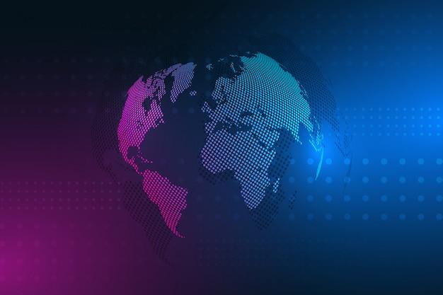 Conexión de red global. concepto de negocio y tecnología de internet. ilustración