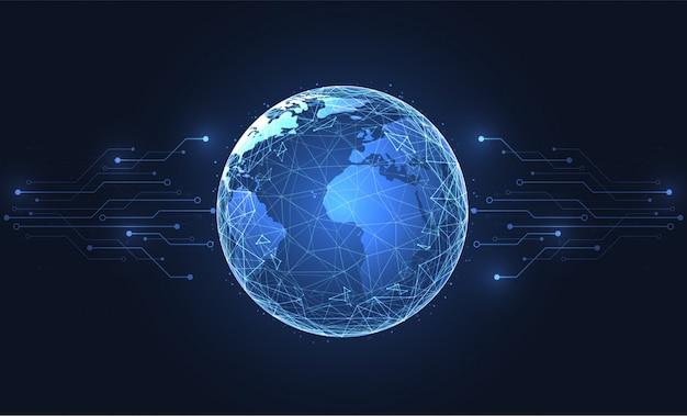 Conexión de red global. fondo del punto del mapa del mundo