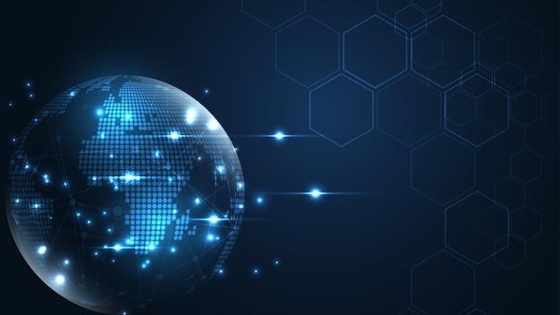 Conexión de red global mapa del mundo fondo de tecnología abstracta concepto de innovación empresarial global
