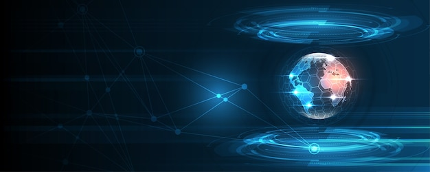 Conexión de red global mapa del mundo fondo de tecnología abstracta