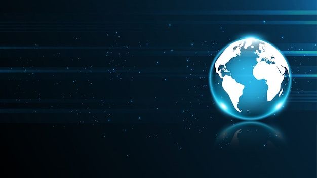 Conexión de red global mapa del mundo tecnología abstracta fondo de banner