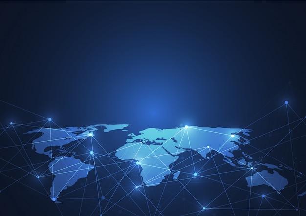 Conexión de red global. punto y línea del mapa mundial