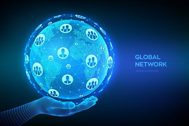 Conexión de red global. punto del mapa mundial y composición de línea. globo terráqueo en mano de estructura metálica. concepto de negocio global.