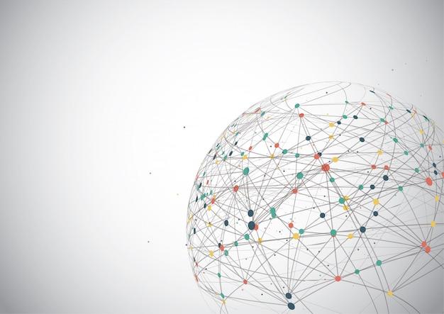Conexión de red global, punto del mapa mundial