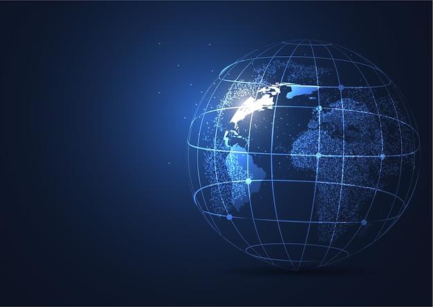 Conexión de red global. punto del mapa mundial