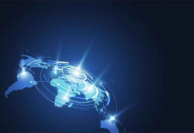 Conexión de red global. punto del mapa del mundo